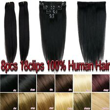 7pieces Clip In Remy Human Hair Extensions Full Head Long Straight US Stockxl804