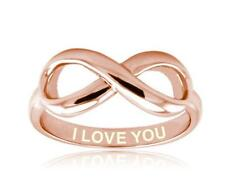 Rose Gold Sterling Silver I Love You Engraved Infinity Ring