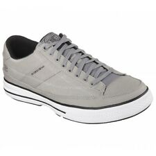 Skechers ARCADE CHAT MEMORY Mens Canvas Lace Up Casual Trainer Shoes Grey