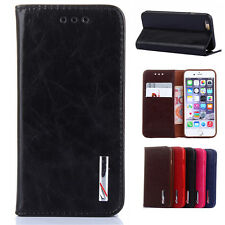 Thin Genuine Leather Stand Wallet Case CardSlot Cover Cap for iPhone6 6s Plus 5s