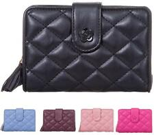 LADIES FASHION FAUX LEATHER QUILT ZIP SMALL COIN PURSE WOMENS WALLET CARD HOLDER