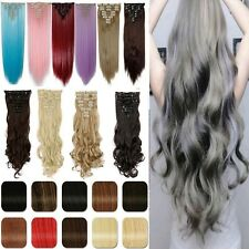 8 Pcs Straight Wavy Curly Full Head Clip In On Synthetic Hair Weft Extensions h4