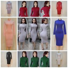 Women Girls Turtle Neck Long Sleeve Casual Bodycon Stretch Party Midi Dresses