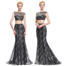 BOHO Sexy Sequined Two-Piece Set Ball Gown Evening Prom Party Dress Mermaid Long