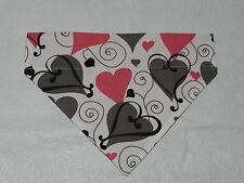 DOG CAT FERRET REVERSIBLE Over Collar Bandana~Valentines Heart Love Romantic