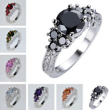 Size 6-11 Colorful Round Sapphire Engagement Ring 10KT White Gold Filled Jewelry