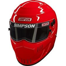 SIMPSON SPEEDWAY HELMET SNELL SA2015 UK M6 HANS MSA SAFETY ORANGE SILVER RED