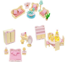 Sweetbee Wooden Dolls House Furniture 3 Sets Bedroom Living Room and Dining Room