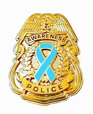 Light Blue Ribbon Pin Police Badge Awareness Security Sheriff Gold Plated New
