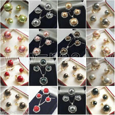 New 10mm&14mm Color Shell Pearl 18KGP Earrings Pendant Ring Wedding Jewelry Set
