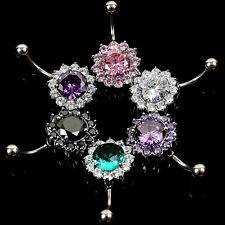 Crystal Flower Stainless Steel Navel Belly Ring Button Bar Body Piercing Jewelry