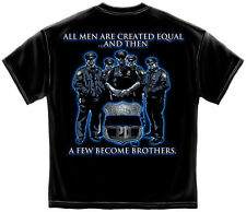 New Black T-Shirt with A Few Become Brothers Police Law Enforcement  Design