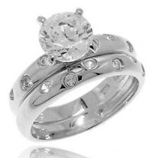 1.5 CT Round Cubic Zirconia 925 Sterling Silver Engagement/Wedding Ring Set