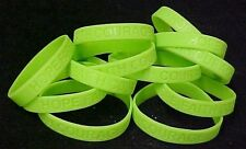 Lime Green Awareness Bracelets Lot of 100 Silicone Cancer Wristbands IMPERFECT