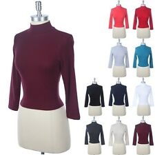 3/4 Sleeve Solid MOCK TURTLE Neck Fitted Crop Top Plain Sexy Cotton Span S M L