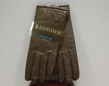 Isotoner Womens Dress LEATHER Gloves - 40 Gram THINSULATE LINED Titan BRONZE