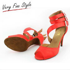 Dance Shoes Women Latin Ballroom Tango Salsa New Red Hot Peep-Toe Ankle Strap
