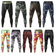 Men Sports Compression Under Base Layer Trousers Skin Tights Gym Camo Long Pants