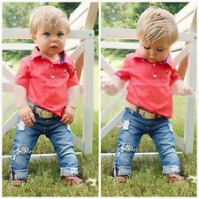 2Pcs Infant Baby Boy Short Sleeve T-shirt Denim Pants Toddler Clothes Set Outfit