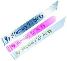 MUMMY TO BE Baby Shower Party Sashes Satin Sash Ribbon Pink or Blue Boy or Girl
