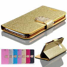Bling Crystal Diamond Flip Cover Leather Wallet Case Chrom Plating Bumper Pouch