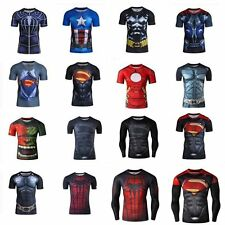 Gym Superhero 3D Comics Compression T-shirt Short Long Sleeve Tee Bicycle Jersey