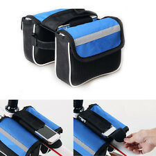 New Blue Bike Bicycle Frame Pannier Front Tube Double-Saddle Bag Waterproof