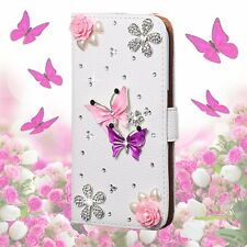 Luxury Bling Flower PU Leather Flip Slot Phone Case Cover Skin Fit Various Model
