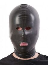 Latex CHLORINATED Hood/Mask Open EYES NOSE MOUTH / BLACK / 3 SIZES / 109a-c