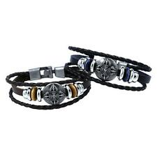 Men's Punk Cool Metal Cross Studded Surfer Leather Bracelet Wristband Cuff NG