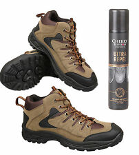 Mens Khaki Trail Trek Hiking Boots With Waterproof Spray Size 6 7 8 9 10 11 12
