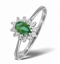 9K White Gold 0.18ct Diamond & 6 x 4mm Emerald Ring Size  F - Z Made in London