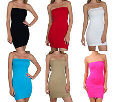 Sofra CLUBWEAR SEXY STRAPLESS LONG TUBE SEAMLESS TOP STRETCHY SLIM FITS DRESS