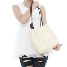 Summer Women Wooden Beads Shoulder Bag Beach Straw Woven Tote Bags Handbag W