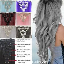 UK 8 Piece Real Thick Full Head Clip In Hair Extension Extensions For Human LT2