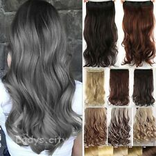 One Piece Full Head Clip in Thick Remy Hair Extensions Wavy Straight UK STOCK TR
