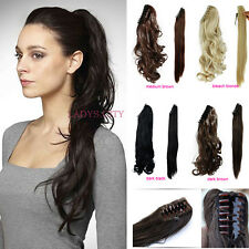 Lady Clip In Ponytail Pony Tail Hair Extension Claw On Hair Piece Curly Wavy AOL
