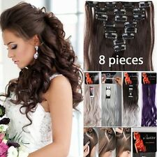 Real Thick 18Clips Clip in Full Head Hair Extensions Extension As Human Hair AD