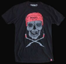 T-Shirts New Cool Vintage Style Old School Hockey Skull Retro Tee Shirt