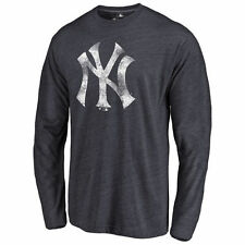 Men's Navy New York Yankees Distressed Team Long Sleeve Tri-Blend T-Shirt - MLB