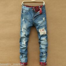 New Men's Slim Runway Straight Denim Pants Destroyed Ripped Trousers Jeans