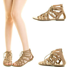 Taupe Open Toe Strappy Lace Up Cage Cut Out Gladiator Rome Women Zip Flat Sandal
