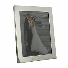 """Personalised Engraved Wedding MR & MRS  Silver Plated 8 X 10"""" Photo Frame Gift"""