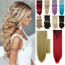 UK STOCK Full Head 8 piece Clip in on Hair Extensions New Real thick as remy LM4