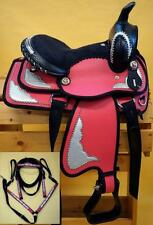 "10"" 12"" Western Synthetic Mini Pony Saddle Trail Pleasure HS BP Pkg-Pink Bling"