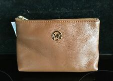 Michael Kors Tan Brown Leather Cosmetic Toiletries Bag New with Tags