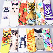 1Pair New Unisex Four Pattern Choice Harajuku Style 3D Print High Cotton Socks