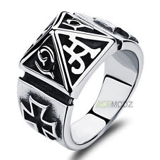 Punk Rock Style Stainless Steel Exaggerated Hollow Cross Pyramid Rings Nice Gift