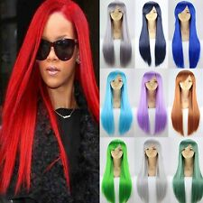 """24-40"""" Anime Costume Cosplay Wig Black Brown Blonde Red Pink Grey Synthetic Wigs"""