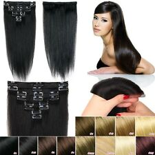 100% Real True AAAAAA Clip In Remy Human Hair Extensions Full Head US SelleMX498